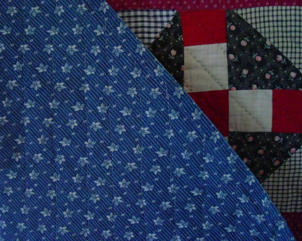 closeup backing and quilting