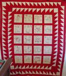 Redwork Embroidered Quilt Top w/ Fabulous Border