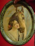 Early Victorian Lady and Horse Advertising Tray