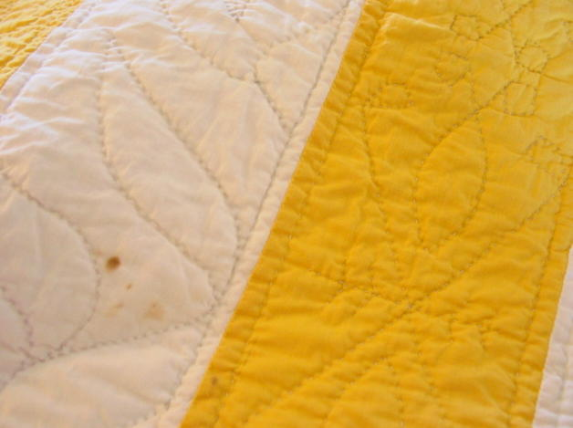 quilting and small spot near top edge
