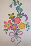 Applique Spray  of Flowers with Scalloped Border  SOLD