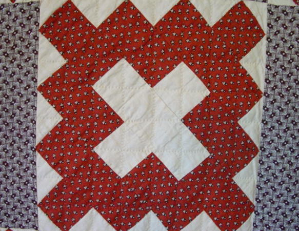 closeup block and quilting