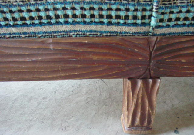 closeup of the cactus front bottom wood trim and leg