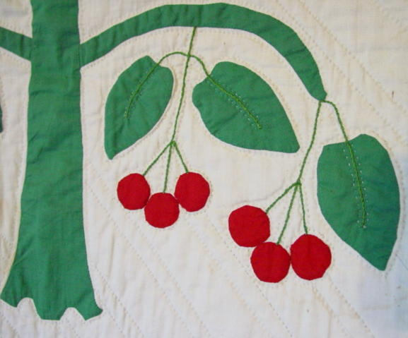 close detail  applique tree and cherries
