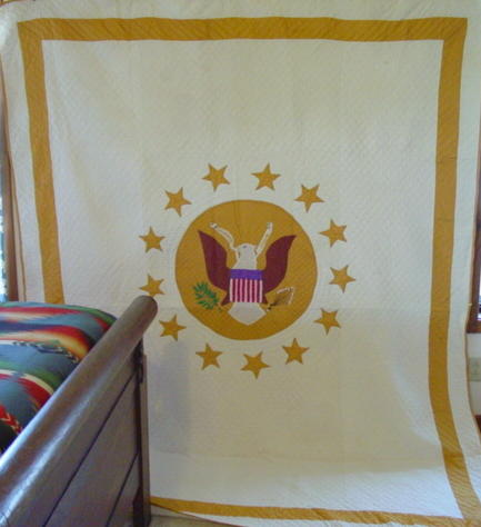Great Seal Of The United States Eagle Quilt-  Patriotic quilt-full view