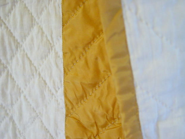 close up of  quilt binding
