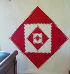 Red and White Sawtooth Diamond Quilt  SOLD