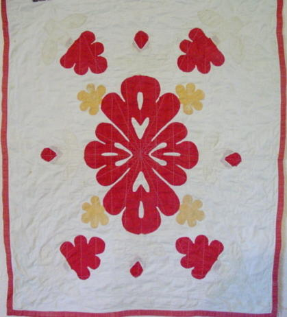 early crib applique quilt -full view