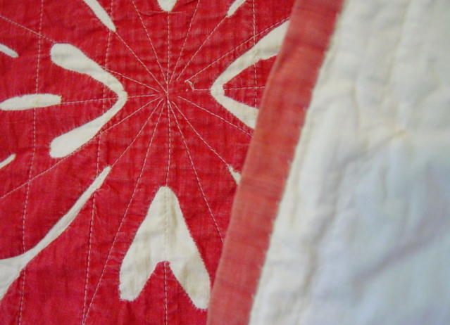 image of quilt binding and backside of quilt