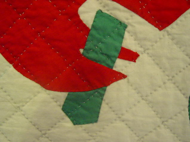 close up of applique and colors and quilting