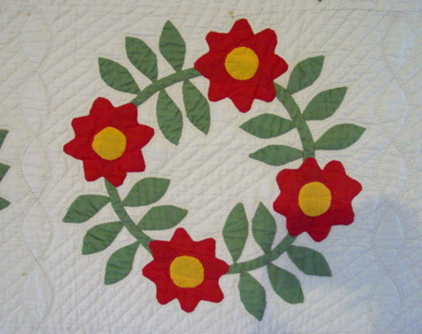 view of the single wreath quilt pattern