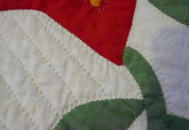 close shot of quilting and applique