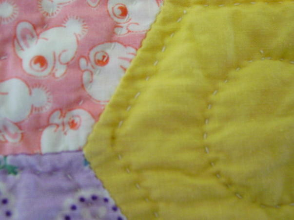quilting quality- also shows some of the bunnie novelty fabric