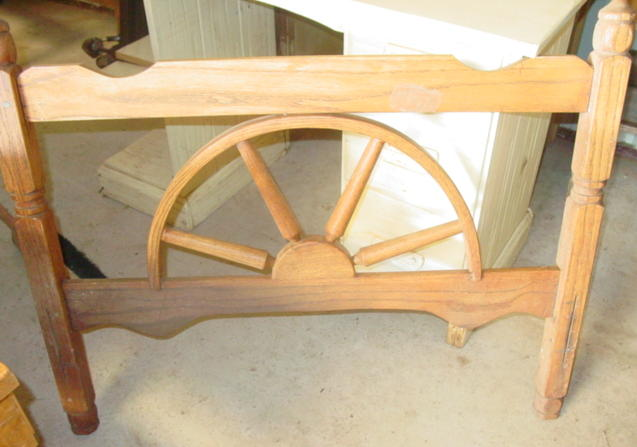 single wagon wheel bed-head board only -2 available, this is the one with the straight top