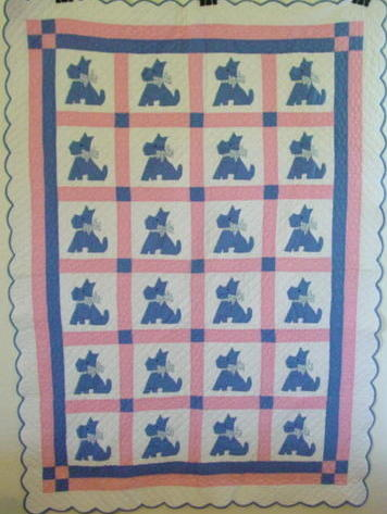 full view of Terrier  dogs quilt