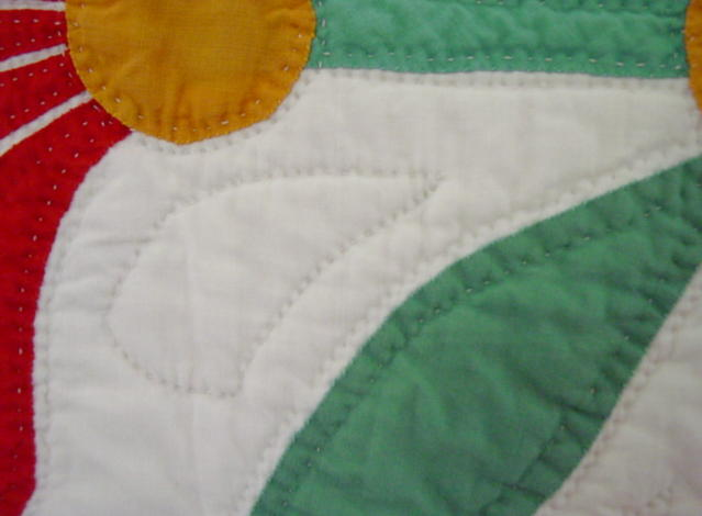 close up of fiine quilting