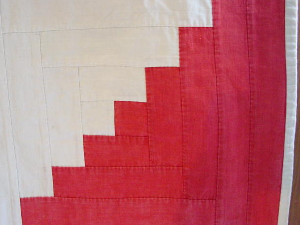 red and white border block, also shows binding