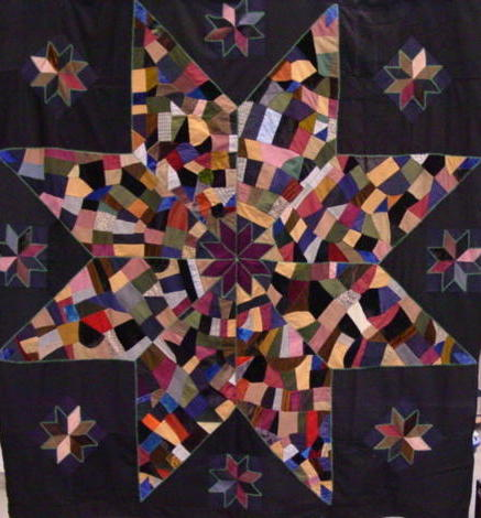 full view of antique wool stars quilt- crazy pieced-but graphic
