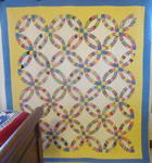 Double Wedding Ring Quilt with Border- Mint   SOLD