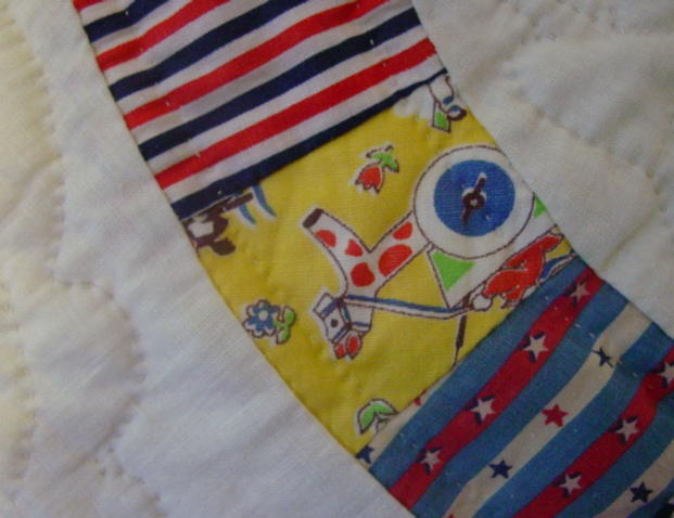 some novelty fabrics and also shows quilting