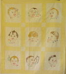 Childs Embroidered Babies Faces Quilt/Gerber Baby? SOLD