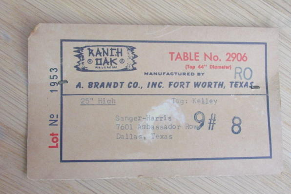 original RO paper label on bottom side of table