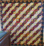 Log Cabin Quilt/Cheater Fabric Log Border-Unusual SOLD