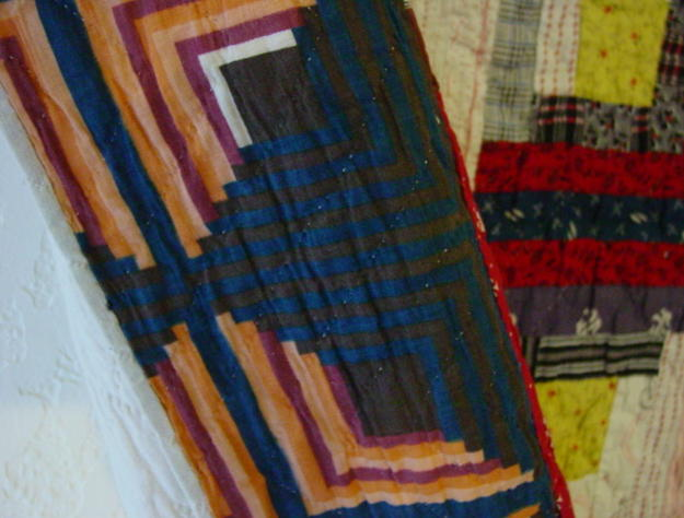 Log Cabin Quilt Cheater Fabric Log Border Unusual Sold