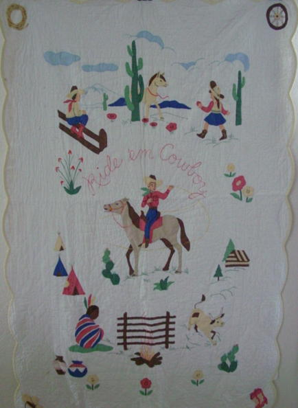 full view of 1950's Ride 'em Cowboy western quilt
