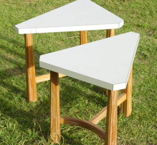 full view of  Ranch Oak triangle tables