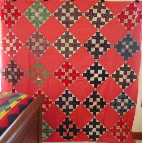 full view of Signature/paper attached quilt top