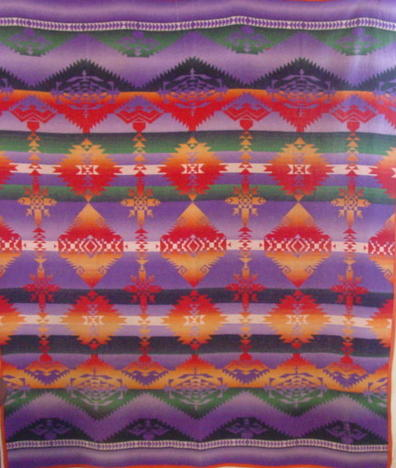 full view of Ombre pattern Beacon Indian blanket
