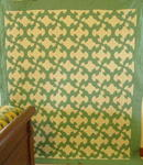 Drunkards Path Quilt- green and white  SOLD