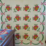 Red Green Bud Applique Quilt with Leaves and Border