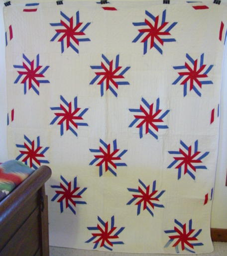 full view of WWll Stars and Bars quilt