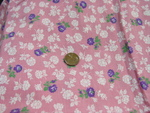 White and Lavender Flowers Feedsack on Pink Ground SOLD