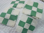 Set 24 Vintage Green/White 9 Patch Quilt Blocks -SOLD