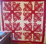 Red and White 4 Block Applique Quilt- as is- SOLD