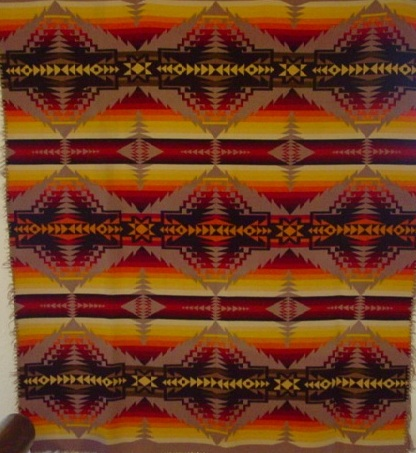 full view of the Pendleton Indian trade blanket