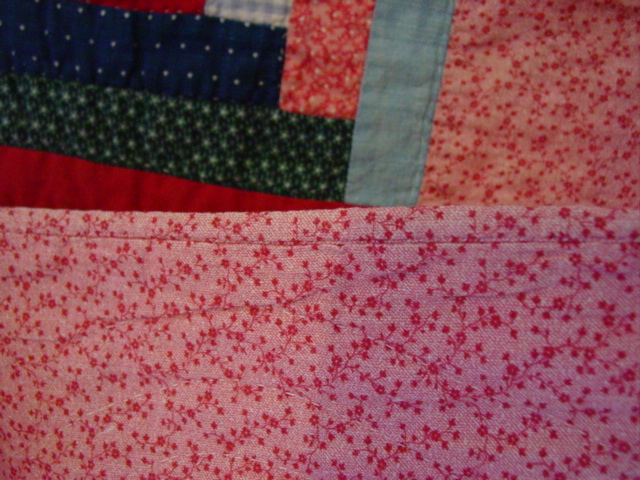 close up of the binding and backing fabric