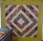 Log Cabin Quilt with Provenance attached  -- SOLD