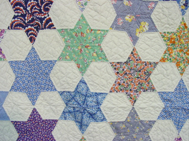 Six Point Stars And Stars Border Quilt- Mint -SOLD