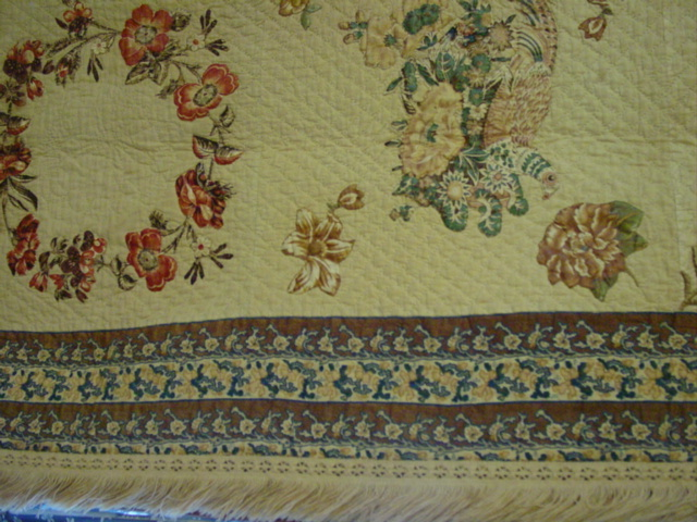 look at  the fabrics,, and showing border  and the fringed edge