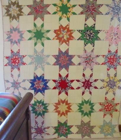 full view of feedsack quilt- Star of the Bluegrass