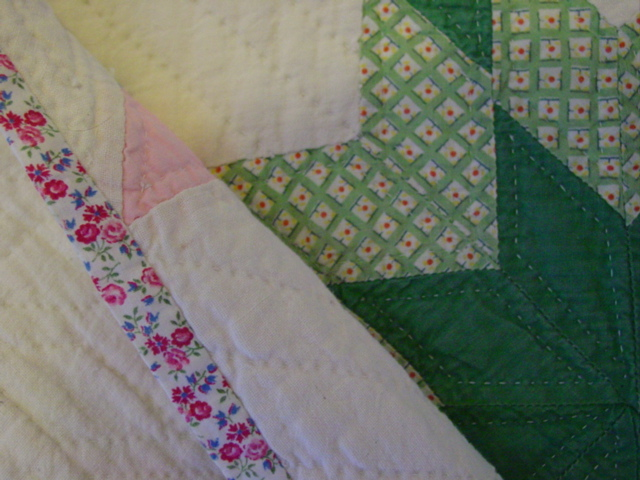 image of the binding and  hand quilting
