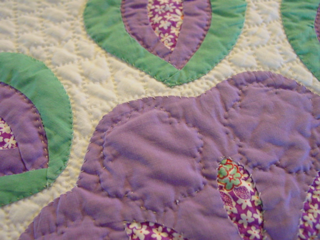 close up of the quilting and applique