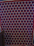 Red, White & Blue Tumbling Blocks Quilt Top- Exhibited