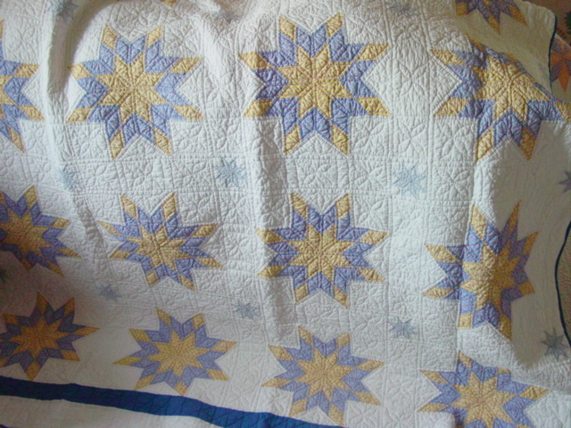 love the blue and yellow print fabrics