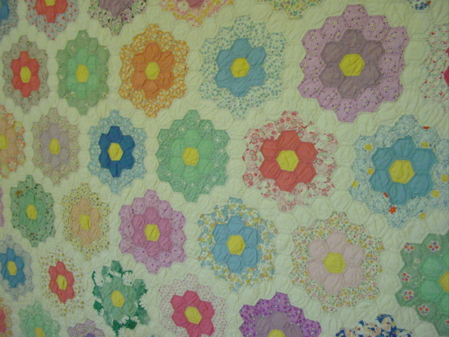 partial view of the small pieced quilt