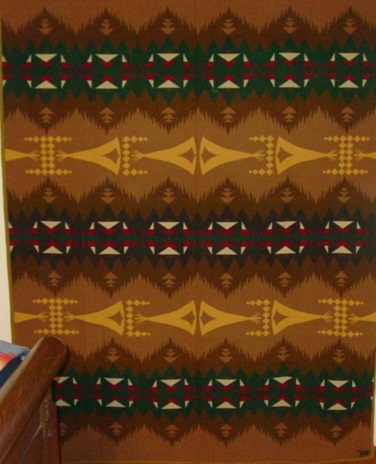 Full view of Pendleton Indian trade blanket- Tepee pattern